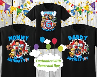 Paw Patrol Birthday Pup Personalised Any Age Boys Girls T-Shirt Gift Present