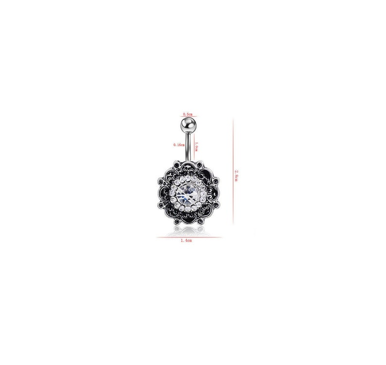 Surgical Steel /& Hypo-Allergenic 14G Belly Button Ring Lotus Flower black silver