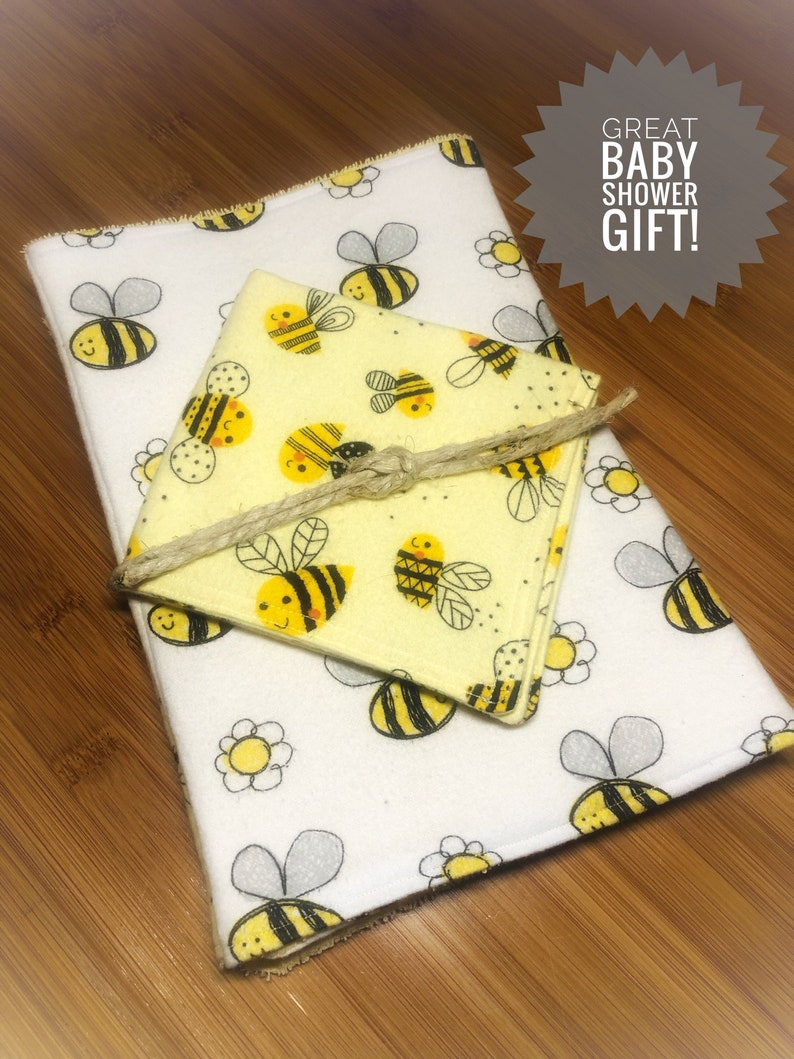 Happy Bees 3pc burp cloth set Extra large 100/% cotton flannelterry cloth burp rags /& super soft flannel face wipe Perfect Baby Shower Gift!