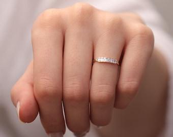 14k & 18k Baguette Diamond Wedding Ring / Hand-made Seven Baguette Diamond Ring/Baguette Diamond Ring available in Gold,Rose Gold,White Gold