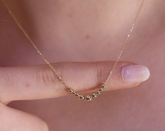 Gold Beads Necklace / Handmade Beads Necklace / 14k Gold Beads  Necklace Available in Gold, Rose Gold, White Gold