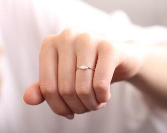 Baguette Diamond Wedding Ring / Hand-made Baguette Diamond Ring / 14k & 18k Diamond Ring /  Baguette Diamond Ring