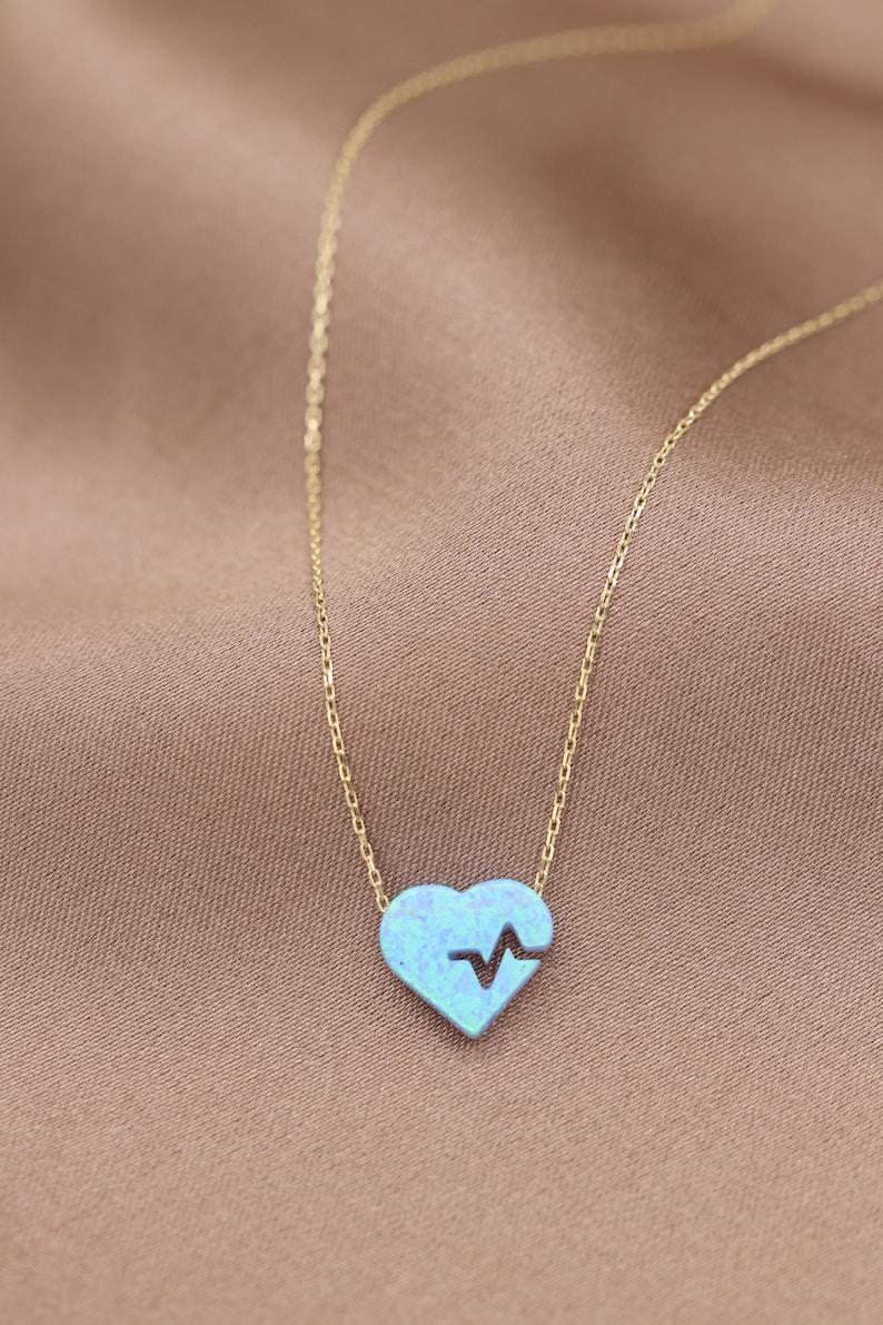14k Gold Opal Heart Necklace  Handmade Opal Heart Necklace  Opal Heart Necklace Available in Gold Rose Gold White Gold