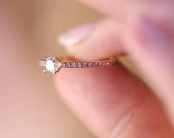 14k & 18k Wedding Diamond Band / Half Eternity Diamond Ring / Gold Minimalist Ring /Engagement Ring Available in Gold, Rose Gold, White Gold