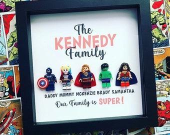 Batman Personalised Superhero Frame Family of 5 Great Keepsake or Christmas Gift Supergirl Spiderman Mom was Wonder Woman Dad as Hulk