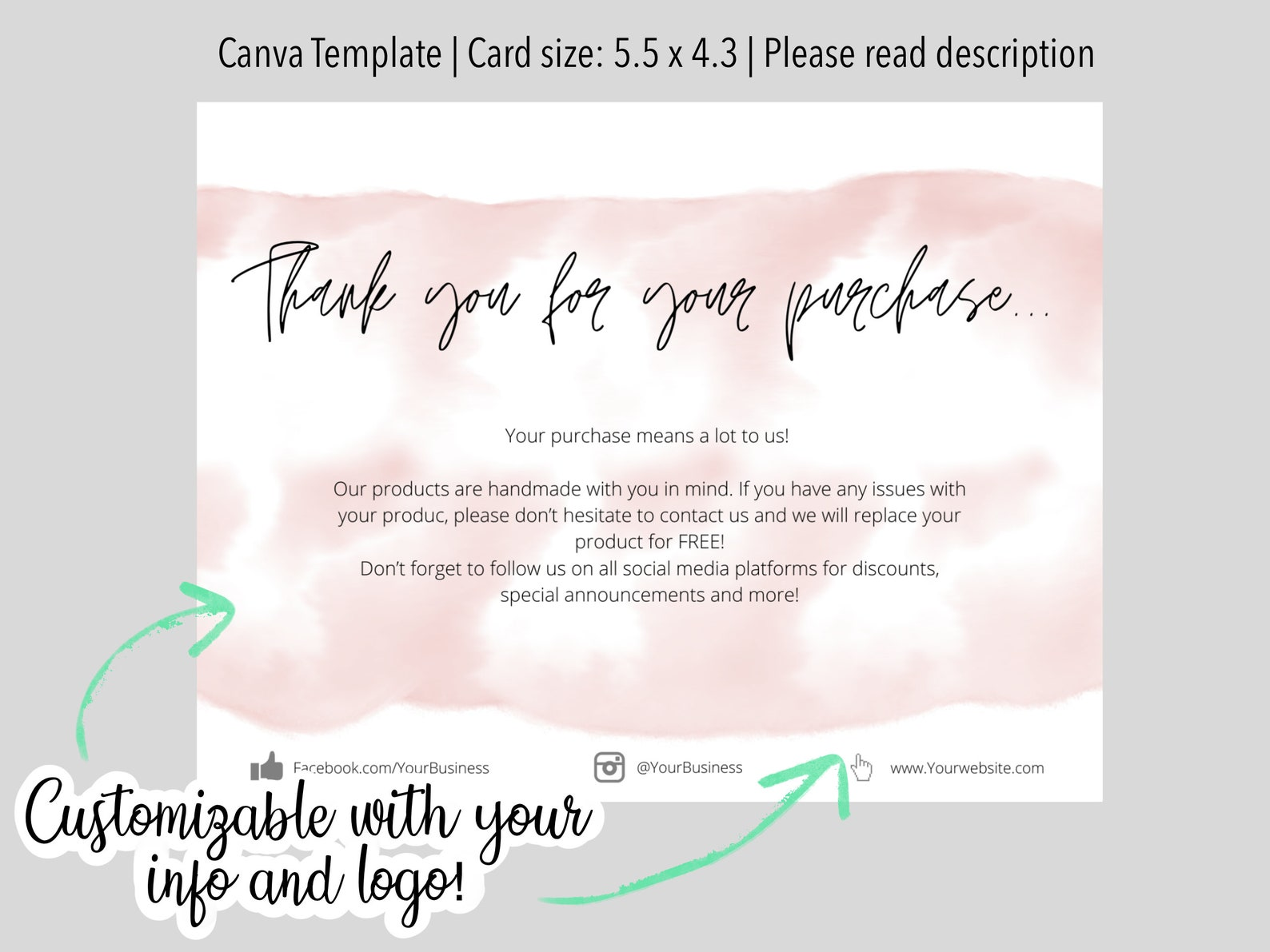 thank you card template small business canva templates  etsy