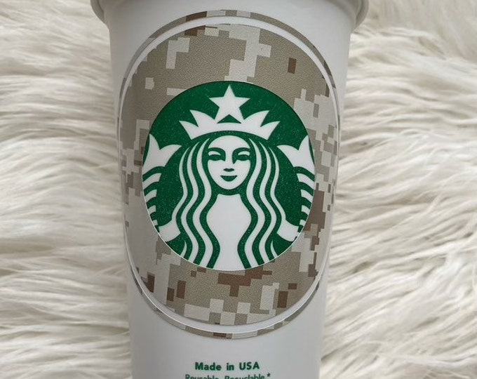 Military Digital Camo Starbucks Cup Free Name Added Personalized Hunting Grande Hot Coffee Cup