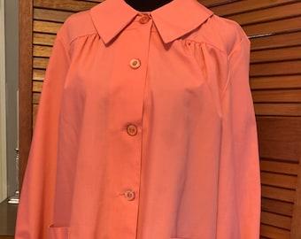 M 40s 50s Tan Turquoise Collar Wrap Day Dress Uniform Cotton Deco Atomic House Angelica Sanfordized Universal Studios Wardrobe Medium