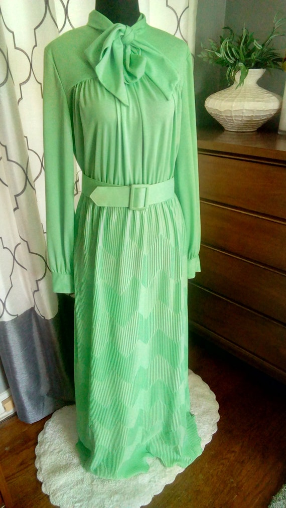 1970s Lime Green Vintage Belted Maxi Dress