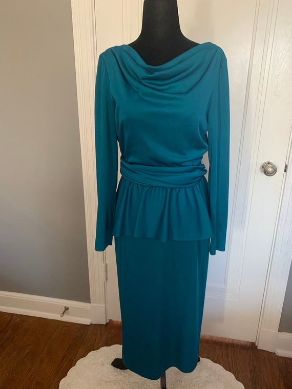 Lilli Diamond Teal Jewel Tone Peplum Dress