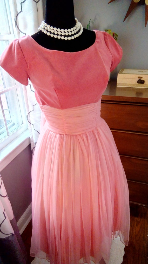 1950s Pink Tulle and Velvet Party Dress