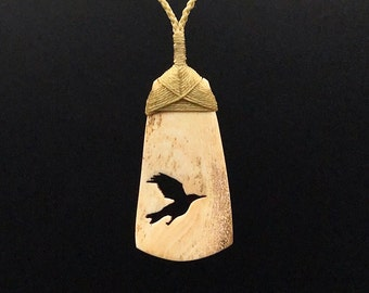 Raven Necklace, Bone Carving, Crow Necklace, Christmas Gift, Best Friend Gift,