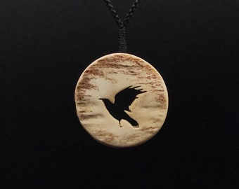 Raven Necklace, Antler Carving, Carved Antler Crow Necklace, Raven Pendant, Crow Jewelry, Hand Carved Moose Antler Pendant for Men and Women