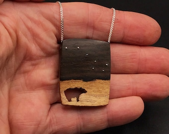 Big Dipper Necklace, Grizzly Bear, Wooden Necklace, Christmas Gift, Best Friend Gift,