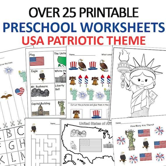 USA Preschool Worksheets Printable  Patriotic Worksheets
