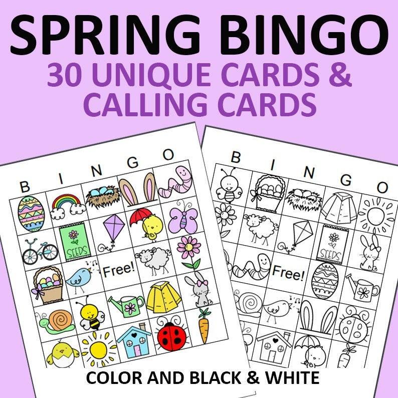 Spring Bingo Printable  30 Unique Spring Bingo Cards DIY image 0