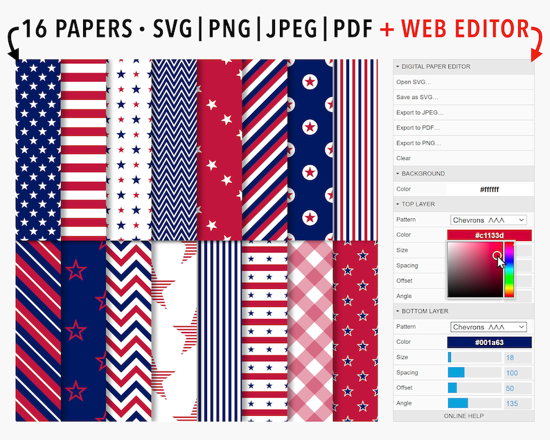 Editable Patriotic Digital Paper Pack: Red White and Blue image 0