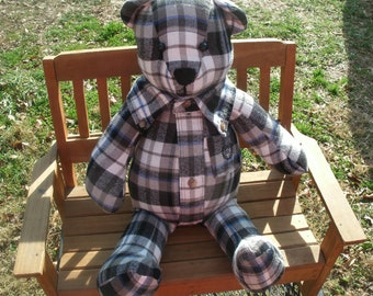 Bears,Memory Bear, Keepsake Bear, Bear made from clothing, Teddy Bear, Bereavement, Sympathy Bear, Memorial Bear, Unique gift,