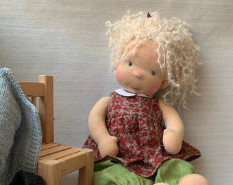 """Soft waldorf Doll 16"""" Natural fiber Steiner baby doll Gift to girl EXAMPLE ONLY Made to order"""