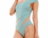 Sexy Wrap with Mesh Swimsuit Women Fashion One Piece