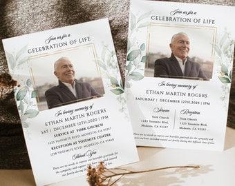 Green leaf Funeral invitation template,Greenery Photo celebration of life invitation,Gold frame Funeral digital invitation, In loving memory