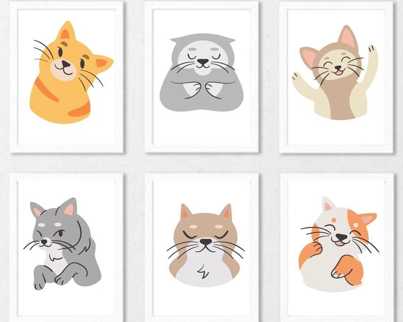 neutral nursery decor,Gender neutral nursery wall decor. cat nursery prints kitten prints Set of 6 nursery wall decor digital download