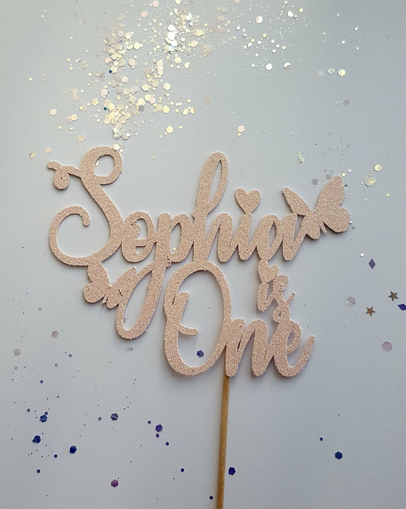 Personalised Hearts Name /& Age  Glitter Cake Topper