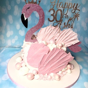 Personalised name and age topper can be added Beautiful Flamingo Glitter Cake Topper