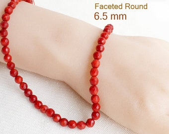 70 pcs round pink of length of 40 cm A string natural coral beads 6 mm