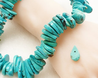 Long 10x40mm  Turquoise stone teardrop drop beads for pendant-earring 2pcs