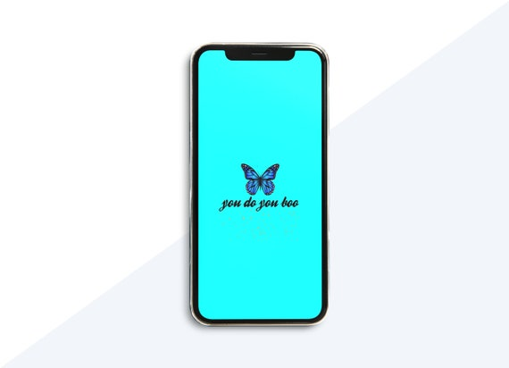 Simple Blue Butterfly Aesthetic Phone Wallpaper Instant Etsy
