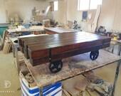 Reclaimed Oak Beam Coffee Table With Metal Hoop