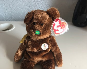 Collectible, retired – Ty beanie Fifa 2002 World Cup bear (Brazil) perfect condition with original tag