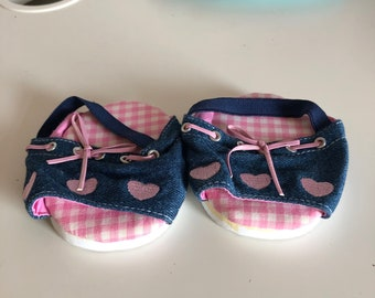 Super cute, original Bear Factory denim effect shoes with pink for build-a-bear and BF bears