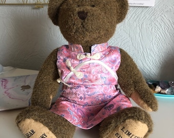 Super cute, original Bear Factory blue and pink oriental dress with cute rope knot fastening, made for build-a-bear and BF bears