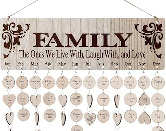 Family Birthday Board Calendar-Wooden Birthday Calendar Wall Hanging Reminder-Plaque for with 100 Piece Wooden Discs-Family Birthday Sign