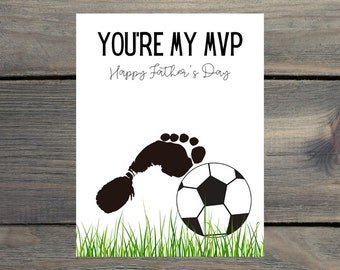 Soccer Dad, Happy Father's Day, Footprint, Children's Craft Ideas, Father Day Handprint, Father's Day, Toddler Hands, Handprint Art