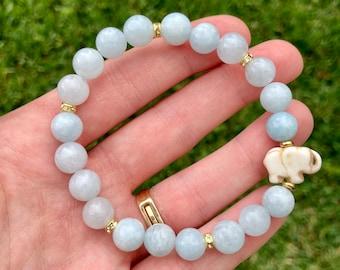 Gemstone Bar Necklace March Aquamarine Elephant Charm Necklace Healing crystals Gift for Women Aquamarine Jewelry