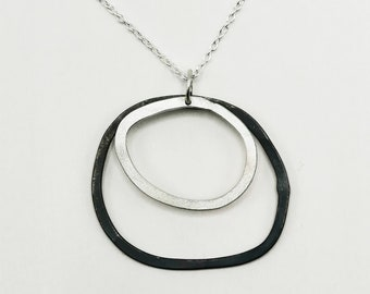 Black and Silver Pebble Ring Pendant