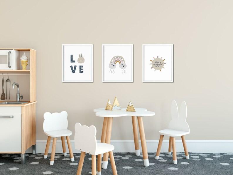 printable Unicorn wall art decor Rainbow kids rooms Moon gender neutral set boho earthy neutral pastel nursery print