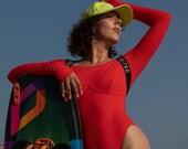 Long Sleeve Swimsuit Red and Black Adjustable High Leg Bodysuit Beach Surf Rashguard Sports Top Bodysuit Party One-Piece Monokini
