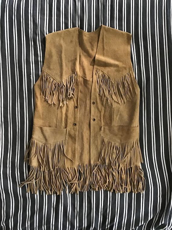 Vintage 70s/80s  boho suede fringe vest vtg 1970s