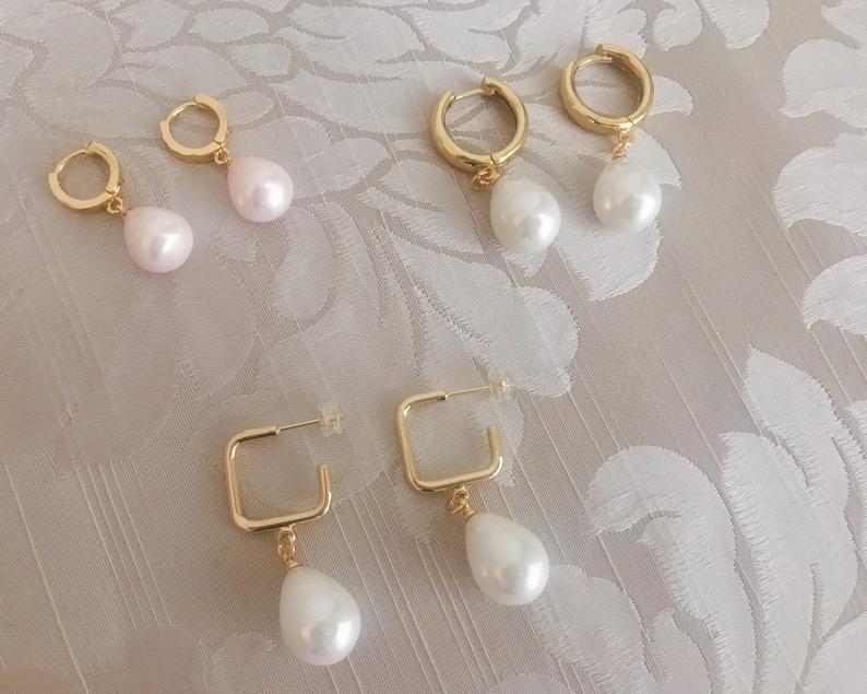 waterproof gold earrings Gold filled earrings with fresh water pearls no-tarnish hoop pearl earrings