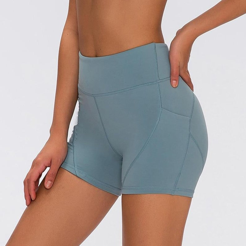 Light Blue Energy High-Waist Athletic Shorts Soft and Breathable