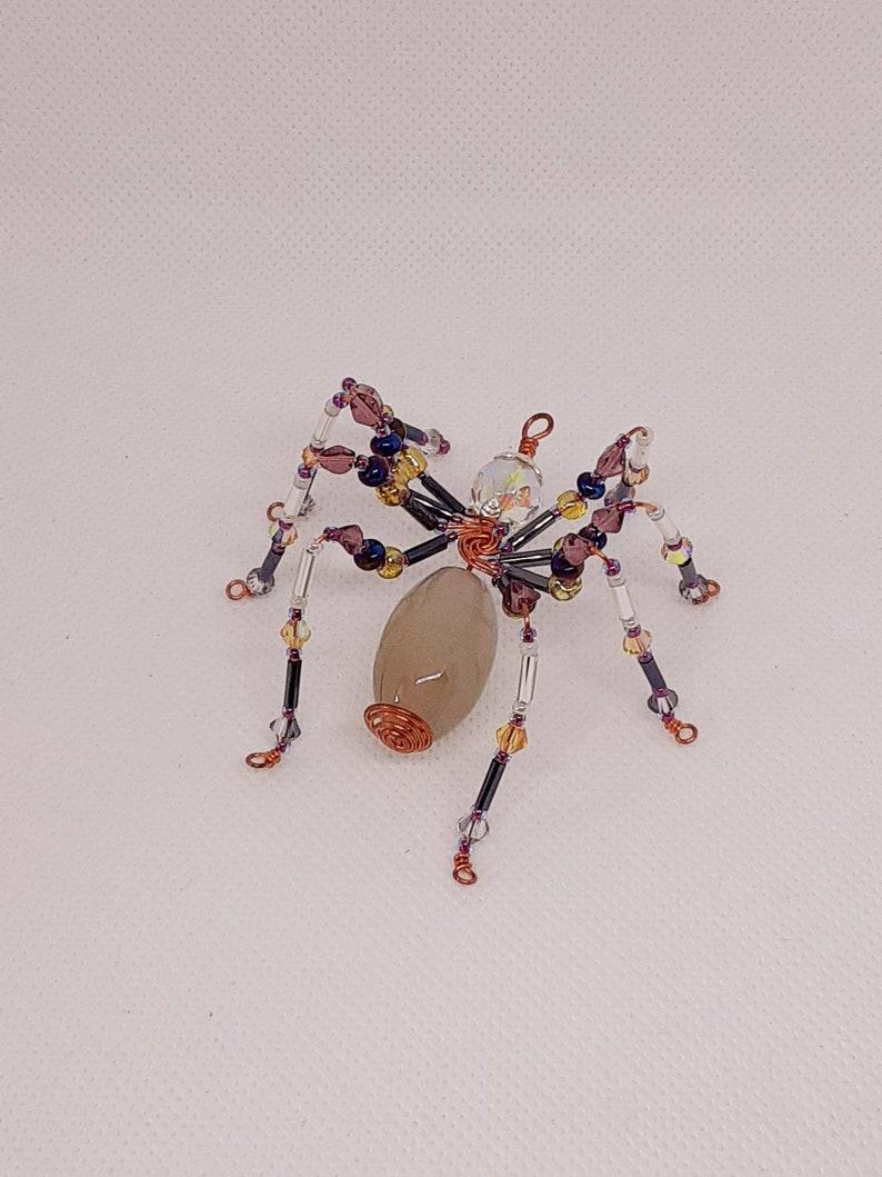 Beaded copper wire spider ornament