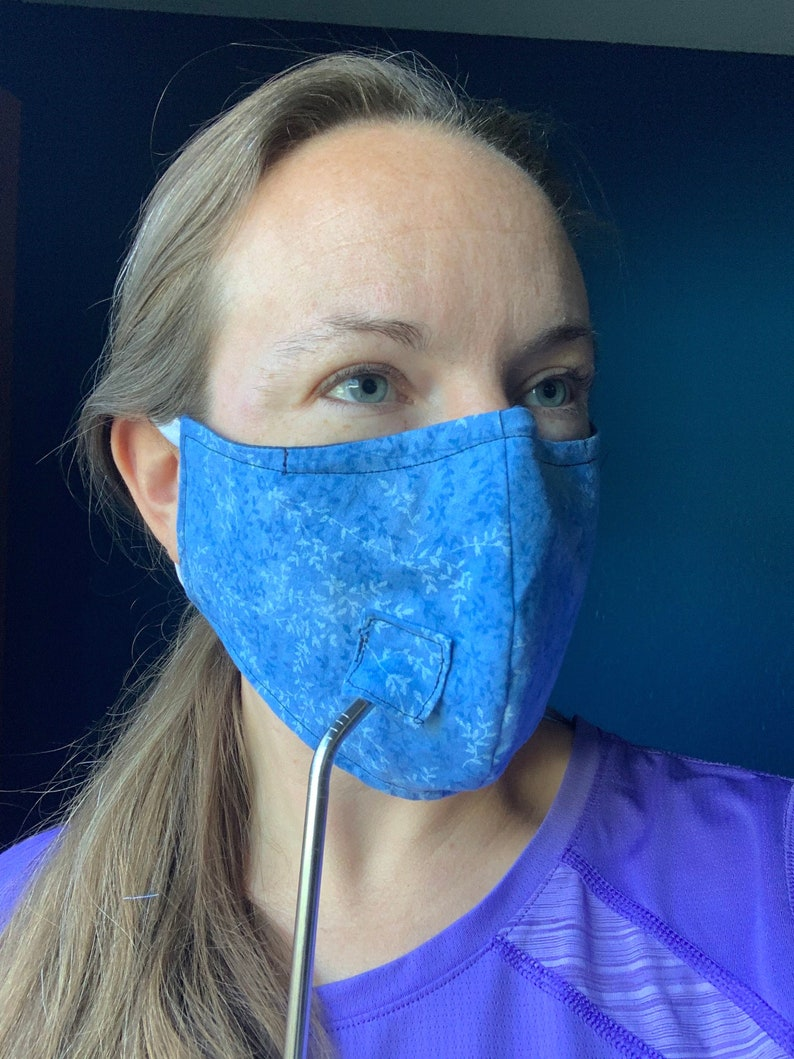 Face Mask with Straw Hole/Nose Wire image 0