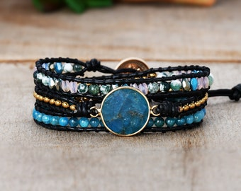 Moss Agate Double Wrap Bracelet with Sterling Silver Charm Bead