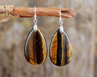 Tiger eye earrings stone dangle earrings boho blue brown earrings wire wrap star handmade silver earring unique jewelry earrings for women