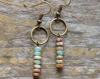 Birthday Gift for Daughter Best Selling Items Minimalist Earrings Leverback Boho Beaded Dangle Earrings Silver Hippie Jewelry Bohemian