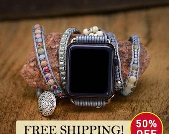 Apple Watch Strap, Boho Hippie Style, Turquoise Protection Apple Watch Strap, iWatch Strap, Chain Bracelet, Wrap Bracelet Leather Band
